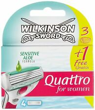 Wilkinson Sword Quattro For Women Sensitive Aloe Blades - Pack Of 4