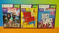 Just Dance 3, Kids 2, + Dance Central 1 -  MicroSoft XBOX 360 Game Lot Works