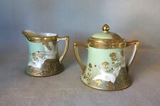 Vintage Hand Painted Creamer & Sugar Swans Pale Green Gold and Jewel Dots NIPPON