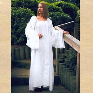 MEDIEVAL Fantasy RENAISSANCE CELTIC Womens White CHEMISE GOWN UNDERWEAR New