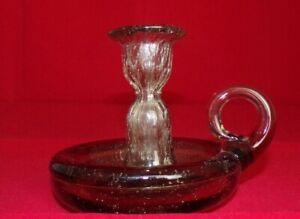 BIOT - Vintage Grey Bubble BIOT Candlestick, Candle Holder Hand Blown France