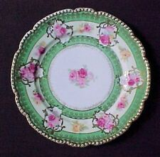 Cabinet Plate O and E G Austria Pink And Yellow Roses Green Fancy Gold Edge