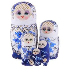 7pcs/Set Wooden Blue Flower Russian Nesting Dolls Matryoshka Collectibles