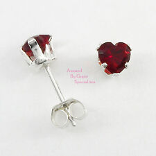 4mm GARNET RED Heart Post Stud Earrings in SOLID 925 Sterling Silver - NEW!