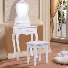 Coiffeuse + tabouret avec miroir table de maquillage commode 3 tiroirs MDF blanc