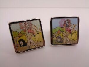 PAUL SMITH MEN'S CUFFLINKS CAR AND LADY (CLOTHES / TOPLESS FLIP) NEW WITHOUT BOX