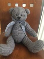 """Charlie Bears Knitted Grey Jointed Bear  soft toy comforter 13""""  VGC Knitty G3"""