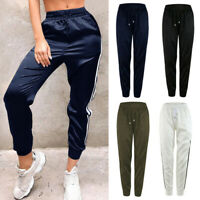 Women Gym Long Pants Side Stripe Elastic Waist Pencil Slim Joggers Trousers New