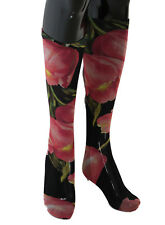 DOLCE & GABBANA Socks Black Pink Floral Tulip Nylon Stockings s. M RRP $220