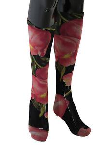 NEW $220 DOLCE & GABBANA Socks Multicolor Floral Tulip Nylon Stockings s. S