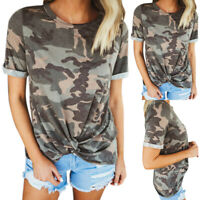 Women Short Sleeve T Shirt Army Camouflage Ladies Casual Blouse Summer Tank Tops