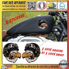 2 Stickers autocollant bobber moto custom aigle motard harley old school