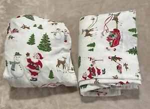 Pottery Barn Kids Crib Toddler Sheet Set Flat Fitted Santa Christmas Flannel