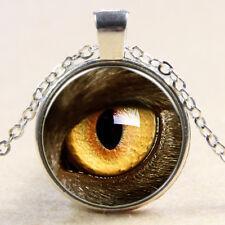 Vintage owl eye Cabochon Tibetan Silver Glass Chain Pendant Necklace NEW