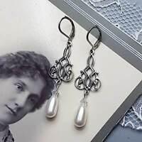 Art Nouveau Earrings Silver Art Deco Filigree Swarovski Cream Pearl drop