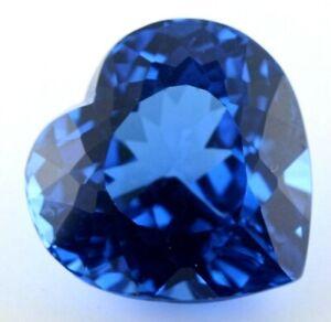 LARGE 19mm HEART-FACET LONDON-BLUE NATURAL BRAZILIAN TOPAZ GEMSTONE (APP £383)