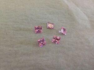 TWO PCS x 1 Ct Russian Lab Sim Diamond PRINCESS CUT (PINK) (5.5 mm x 5.5 mm)