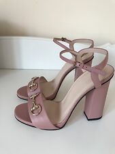 Gucci Soft Pink  Leather Heeled Sandals Size 38.5 RP£535 Bloggers Sylvie