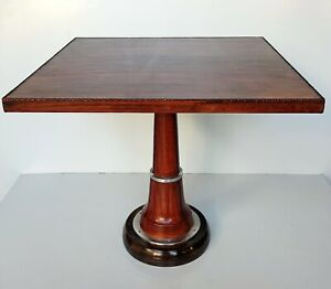 Vintage Home Restaurant Square Coffee Round Table Leather Stitched Decor Retro