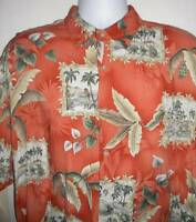 Pierre Cardin Hawaiian Men's Tropical Island Palm Tree Tiki Bar Shirt XL Rayon