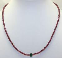 Edle Rhodolith Granat Kette mit Smaragd Edelsteinkette Collier Rot grün Geschenk