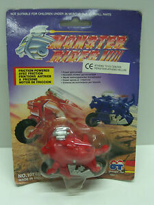 1993 VINTAGE FRICTION POWERED RETRO TOY MONSTER RIDER BIKE RARE RED MOC