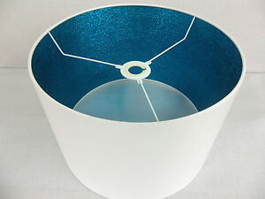 """Hand Made 12 """" White Cotton Lampshade With Turquoise Shimmer Inner"""