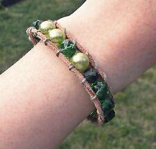 NEU Echt Leder 17cm+3cm ARMBAND mit PERLEN grün/braun KNOPF VERSCHLUSS Blogger