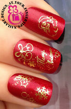CHRISTMAS NAIL ART WATER DECALS TRANSFERS STICKERS GOLD SANTA BELLS HOLLY #812