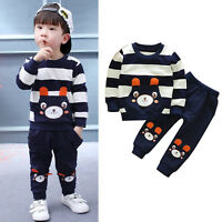 Toddler Kids Baby Boys Outfits Clothes Bear Pullover Tops Long Pants 2PCS Set