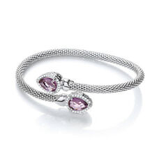 J JAZ Bethany Amethyst Emerald Cut Sterling Silver Mesh Bracelet Bangle