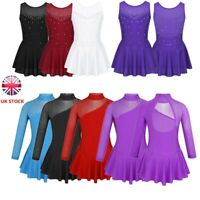 UK Girl Lyrical Ballet Dress Dance Costume Sparkly Skating Dress Costume Leotard