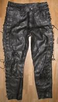 fette Damen- Schnür- LEDERJEANS / Biker- Lederhose in schwarz ca. Gr. 42/44