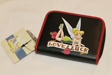 Disney Tinkerbell Love & Luck Tattoo Black Red Zippered Zip Up Coin Purse Wallet