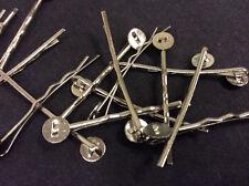 Plaqué argent bobby épingle à cheveux pad clip bijoux making pk 15 F53