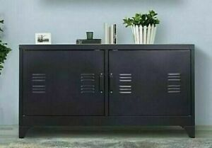 Black Metal Sideboard Cabinet Industrial TV Stand Buffet Home Office Cupboard