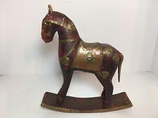 Vintage Rocking Horse Sculpture Figure Wood Brass 8.75� Home Decor