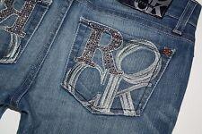 Rock & Republic Stella in Greed Torrent Pink Rhinestone Straight Stretch Jean 25