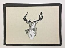 Deer Buck Place Mats Linen Brown Set of Six    A1710
