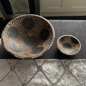 2 Wooden Bowls. Animal Design. Fruit Bowl