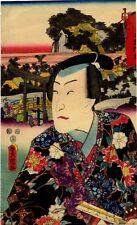 UW»Estampe japonaise originale Toyokuni III acteur Tokaido 99 J47