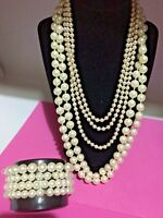 Vtg- 2 Flapper Necklaces + 4 Stretch Bracelets all made with Pearled Glass Beads