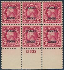 CANAL ZONE #73 PLATE NO. BLOCK OF 6 XF+ OG TROPICAL GUM BT2098