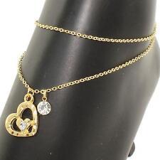 Charm Double Chain Anklet Goldtone Ocean Cruise Beach Love Heart Crystal