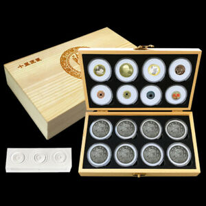 16Pcs 46mm Round Coin Capsule Wooden Storage Box Collection Holder Display Case