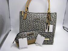 NWT Calvin Klein Navy/Cashew Logo Leather Shoulder Bag + Wallet + Cosmetic Bag