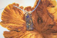 Dark blue sea sediment jasper agate gemstone pendant on blue cord necklace