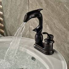 Oil Rubbed Bronze Dolphin Style Deck Mounted Bathroom Faucet Single Handle Tap