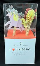 Unicorn Rainbow Theme Party Supply Birthday Cupcake Toppers Cases Cute NIP