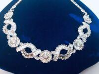 Vintage Pennino Signed Rhinestone Choker Necklace
